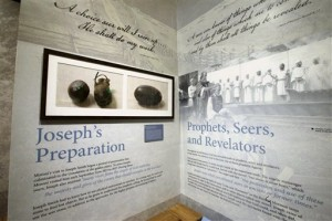 The Seer Stone and Pouch exhibit is shown during a tour of the Mormon Church History Museum, Tuesday, Sept. 29, 2015, in Salt Lake City. The Mormon church's renovated history museum set to reopen this week features a small and surprising display about an uncomfortable part of the faith's history that for generations has been glossed over: polygamy. | AP Photo by Rick Bowmer, St. George News