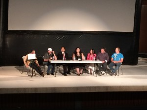 """Audience members hear a moderated panel discussion following a screening of """"Prophet's Prey,"""" Springdale, Utah, Sept. 11, 2015 