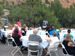 Former FLDS member Sarah Jeffs Draper addresses attendees at a fundraiser for nonprofit organization Holding Out Help, Springdale, Utah, Sept. 11, 2015 | Photo by Cami Cox Jim, St. George News