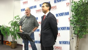 """Private investigator Sam Brower, left, and Utah Attorney General Sean Reyes address members of the media at a press conference prior to a screening of """"Prophet's Prey,"""" Springdale, Utah, Sept. 11, 2015 