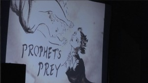 """Opening credits roll at a screening of """"Prophet's Prey,"""" Springdale, Utah, Sept. 11, 2015 