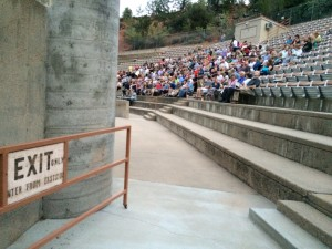 """Audience members file into the O.C. Tanner Amphitheater to find seats for a DOCUTAH screening of """"Prophet's Prey,"""" Springdale, Utah, Sept. 11, 2015 