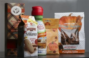 Pumpkin spice products ranging from cookies and donuts to candy and air freshener are shown in Atlanta. These days, pumpkin spice is a modifier on a list of foods that grows longer each fall: There are pumpkin spice lattes and breakfast cereals, doughnuts and yogurt-coated pretzels, pancakes and candy, even pizza and beer, Sept. 12, 2015,  | AP Photo by John Bazemore, St. George News