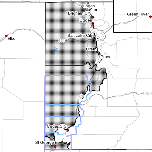 Dots indicate the area affected by the red flag warning, Utah, Sept. 3, 2015, 3 p.m. | Photo courtesy of the National Weather Service, St. George News