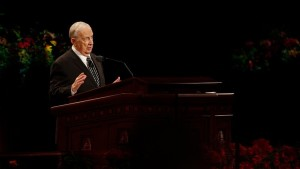 Elder Richard G. Scott, of the Quorum of the Twelve Apostles of The Church of Jesus Christ of Latter-day Saints, speaks at the Sunday afternoon session of general conference, Salt Lake City, Utah, Oct. 5, 2014 | Photo courtesy of The Church of Jesus Christ of Latter-day Saints, St. George News