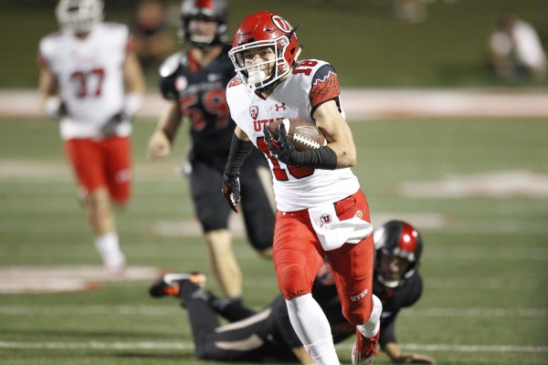 Britain Covey returned a punt for a touchdown Saturday night, Utah at Fresno State, Fresno, Calif., Sept. 19, 2015 | Photo courtesy Utah Athletics