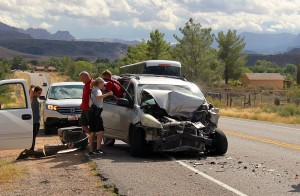 An accident on SR-9 in Virgin destroyed a minivan, damaged a truck , but only caused minor injuries, Virgin, Utah, Sept. 16, 2015 | Photo by Ric Wayman, St. George News