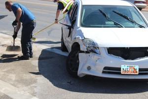 A three car accident by DSU severely damaged two cars and one man was taken to the hospital Thursday afternoon, St. George, Utah, Sept. 24, 2015 | Photo by Ric Wayman, St. George News