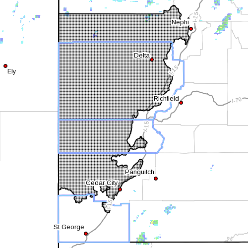 Dots indicate the area affected by the wind advisory, Utah, Sept. 16, 2015, 11:20 a.m. | Photo courtesy of the National Weather Service, St. George News