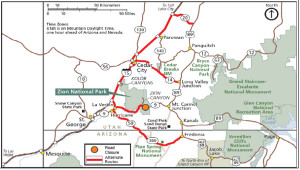 Map of Zion National Park highlighting alternate routes | Image courtesy of Zion National Park | Click to Enlarge