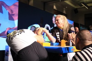 Lisa Wolfley arm wrestles at the World Championships in Kuala Lumpur, Malaysia, September 2015 | Photo courtesy of Lisa Wolfley, St. George News