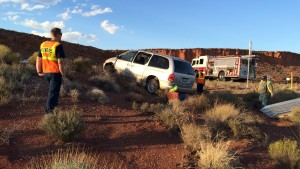 Van crashes at Interstate 15 Exit 16, Washington, Utah, Oct. 1, 2015 | Photo by Cami Cox Jim, St. George News