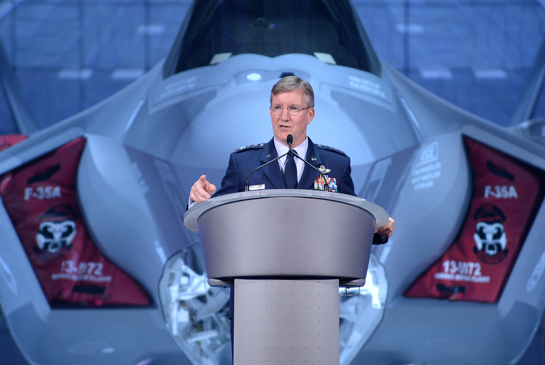 U.S. Air Force Gen. Hawk Carlisle, commander of Air Combat Command, speaks at the arrival ceremony for the F-35 Lightning II at Hill Air Force Base, Utah Oct. 14, 2015 | U.S. Air Force photo by R. Nial Bradshaw, St. George News