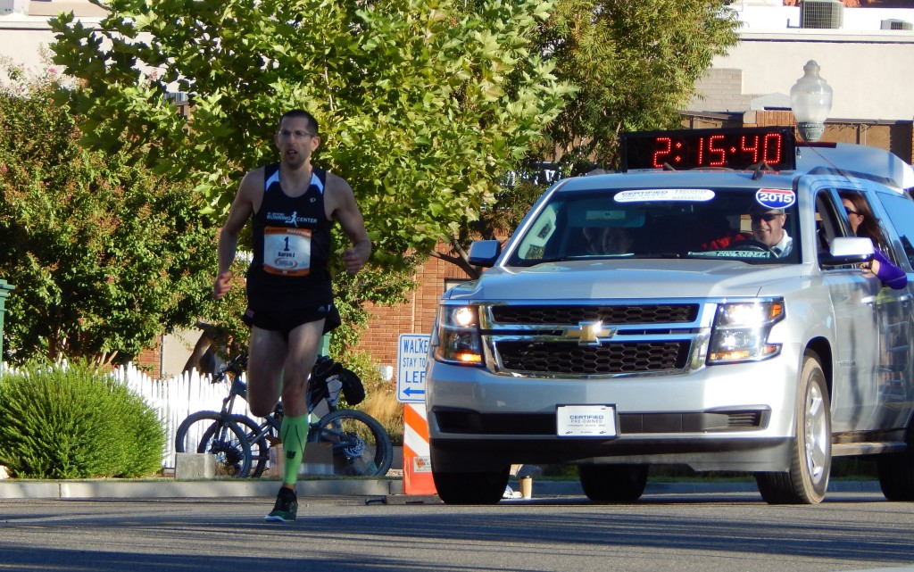 Aaron Metler, the first place finisher for the men, at the St. George Marathon, St. George, Utah, Oct. 3, 2015 | Photo by Shelly Griffin, St. George News