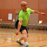 Gerry Mercier takes part in the badminton competition, Huntsman World Senior Games, Badminton, St. George, Utah, Oct. 12, 2015, | Photo by Robert Hoppie, ASPpix.com, St. George News