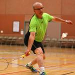 Gerry Mercier takes part in the badminton competition, Huntsman World Senior Games, Badminton, St. George, Utah, Oct. 12, 2015,   Photo by Robert Hoppie, ASPpix.com, St. George News