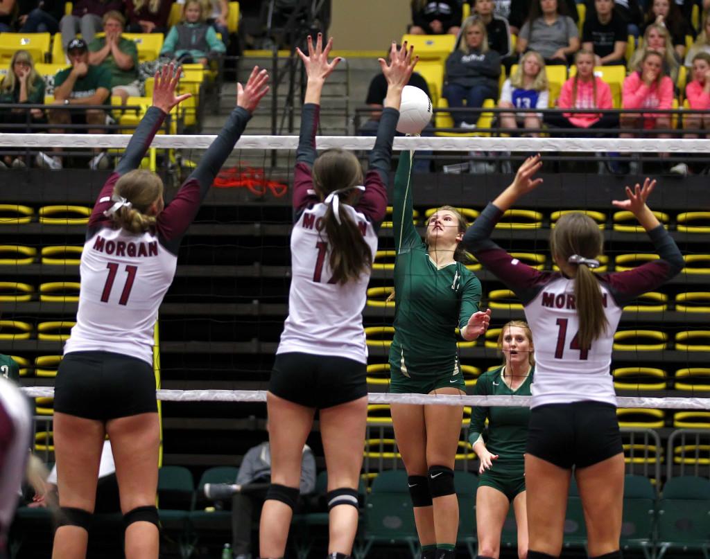 Snow Canyon's Sammi Johnston (11), 3A State Volleyball Tournament, Orem, Utah, Oct. 29, 2015, | Photo by Robert Hoppie, ASPpix.com, St. George News