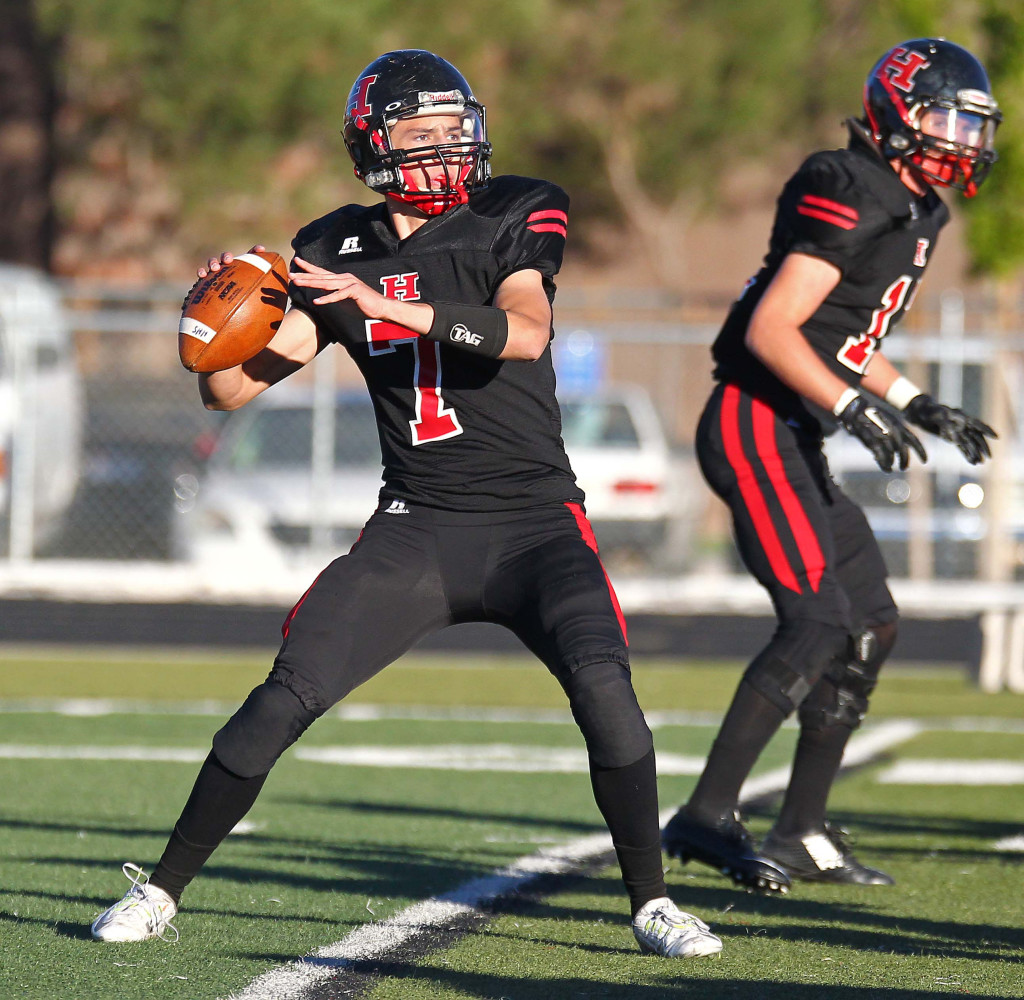 Hurricane's Josh Parker (7) is back for his semnior year, file photo from Hurricane vs. Park City, 3AA Football Playoffs, Utah, Oct. 30, 2015, | Photo by Robert Hoppie, ASPpix.com, St. George News