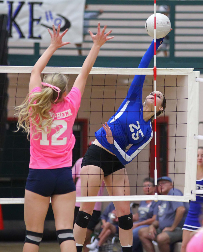 Dixie's  Katie Fisher (25) and Snow Canyon's  Shaylee Reed (12), Snow Canyon vs. Dixie, Volleyball, St. George, Utah, Oct. 22, 2015, | Photo by Robert Hoppie, ASPpix.com, St. George News