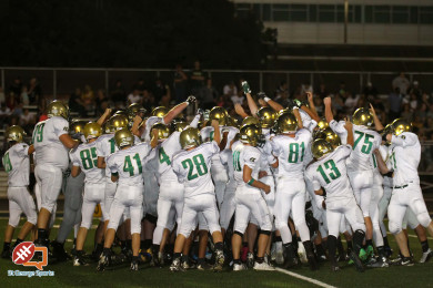 Snow Canyon celebrates their victory over Dixie, Dixie vs. Snow Canyon, Football, St. George, Utah, Oct. 1, 2015, | Photo by Robert Hoppie, ASPpix.com, St. George News