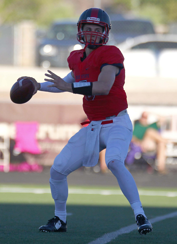 Blake Barney (5) had a big day. File photo from Dixie State University vs. Western Oregon University, Football, St. George, Utah, Oct. 2, 2015, | Photo by Robert Hoppie, ASPpix.com, St. George News
