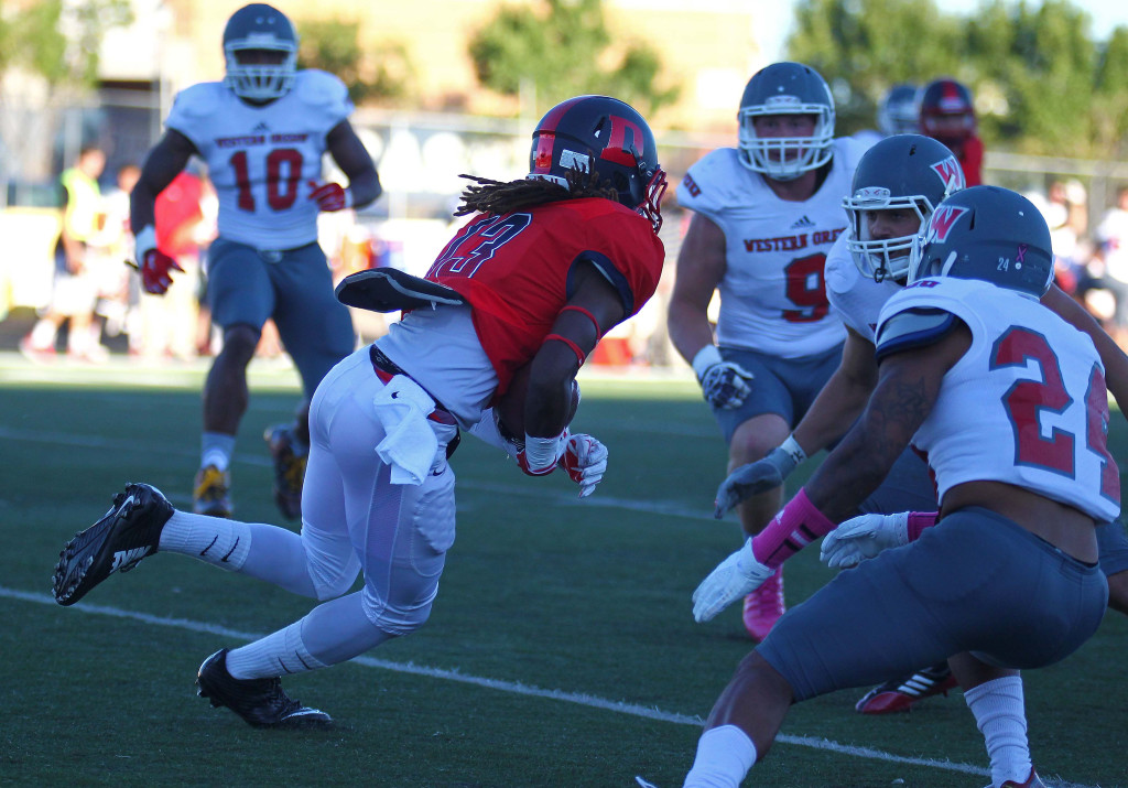 Dixie State receiver Damarrio Hammonds (13), Dixie State University vs. Western Oregon University, Football, St. George, Utah, Oct. 2, 2015, | Photo by Robert Hoppie, ASPpix.com, St. George News