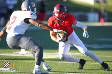 Nate Stephens makes a catch for the Red Storm, Dixie State University vs. Western Oregon University, Football, St. George, Utah, Oct. 2, 2015, | Photo by Robert Hoppie, ASPpix.com, St. George News