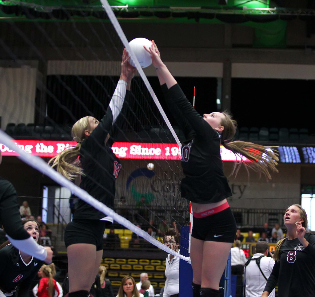 Megan Hintze for Pine View, 3A State Volleyball Tournament, Orem, Utah, Oct. 28, 2015, | Photo by Robert Hoppie, ASPpix.com, St. George News