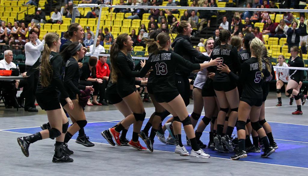 Pine View celebrates their victory over North Sanpete, 3A State Volleyball Tournament, Orem, Utah, Oct. 28, 2015, | Photo by Robert Hoppie, ASPpix.com, St. George News