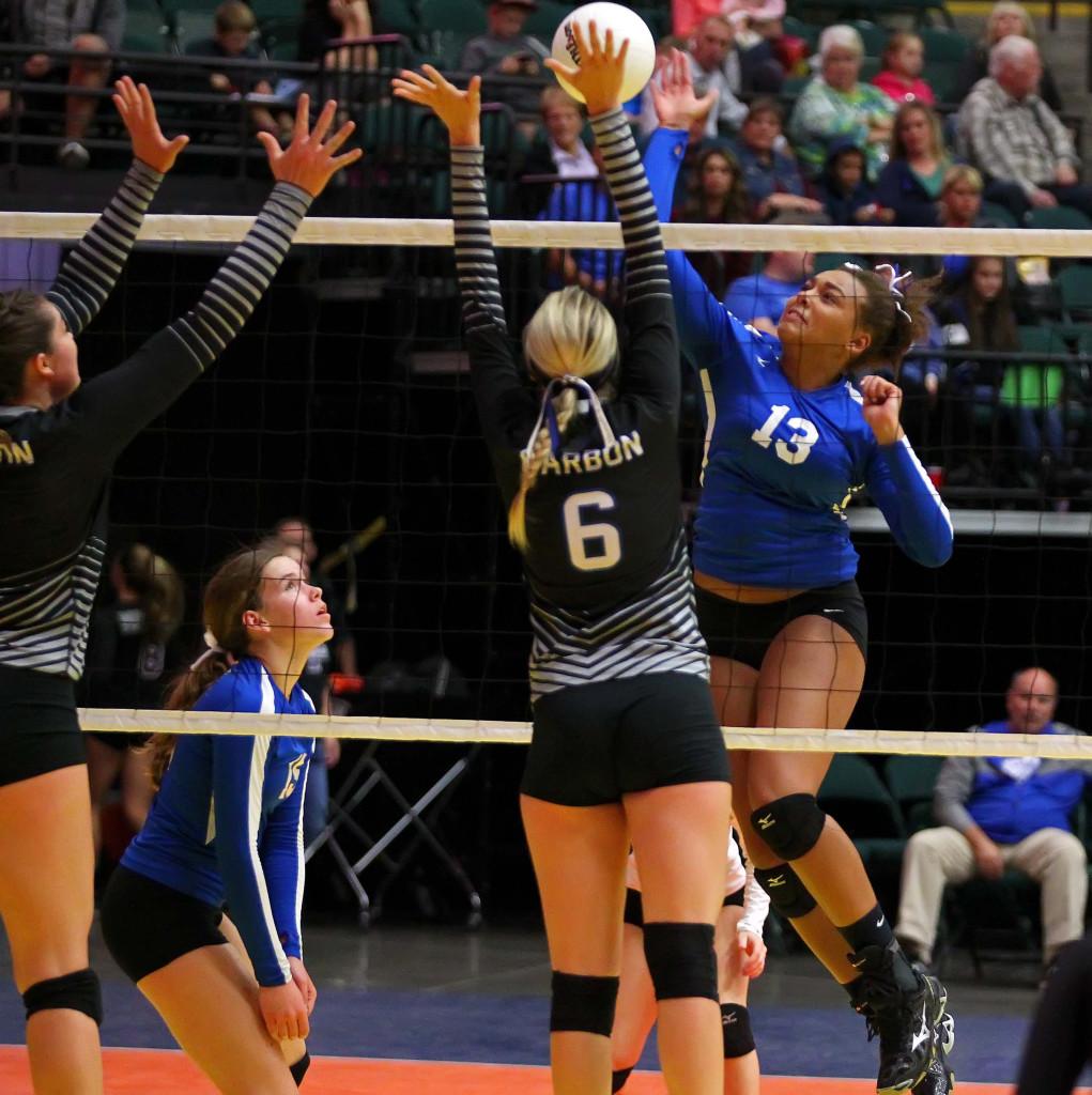 Dixie's DeAubrey Bowers (13), 3A State Volleyball Tournament, Orem, Utah, Oct. 28, 2015, | Photo by Robert Hoppie, ASPpix.com, St. George News