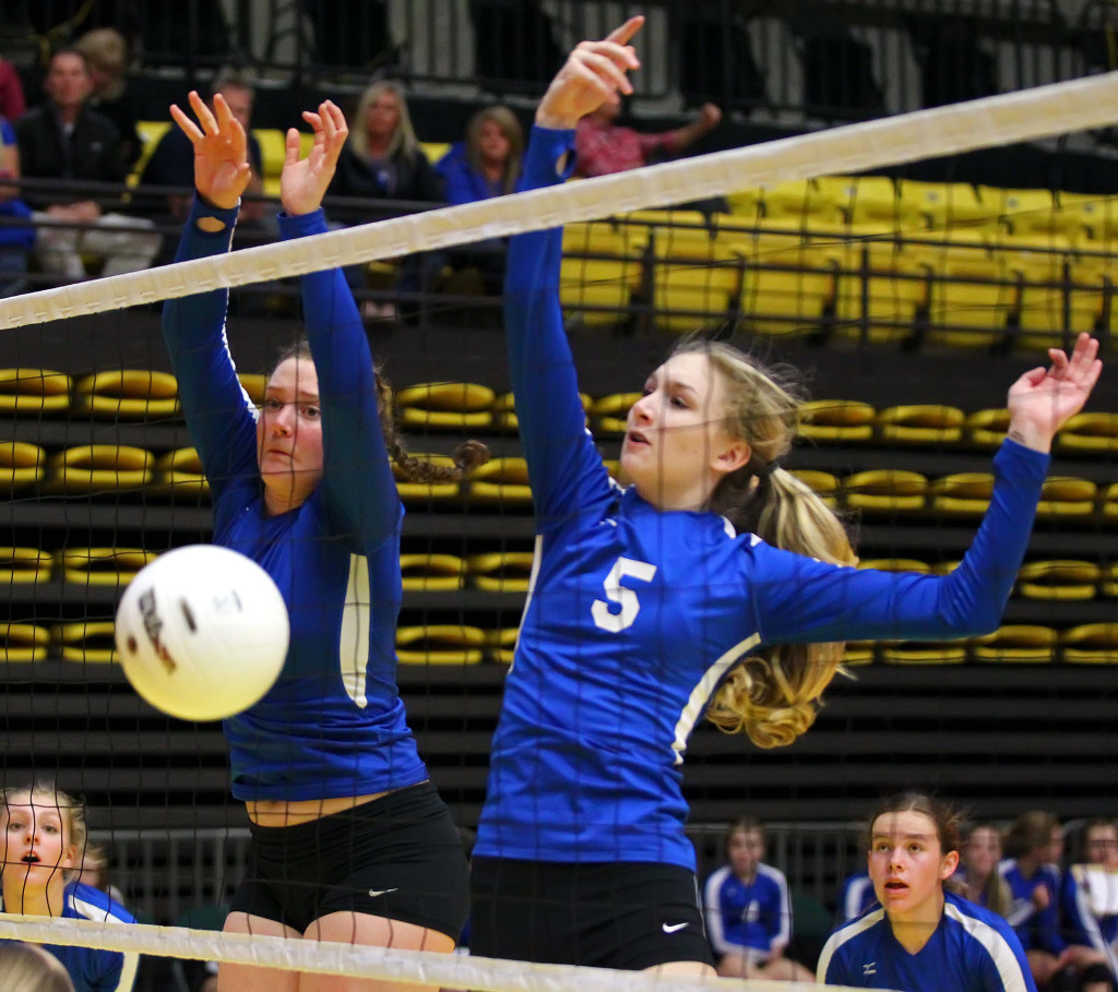 Dixie's  Tyler Stilson (5), 3A State Volleyball Tournament, Orem, Utah, Oct. 28, 2015, | Photo by Robert Hoppie, ASPpix.com, St. George News