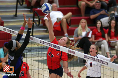 Makenzi Bird-Murphey for Dixie State, Dixie State University vs. Chaminade University, Volleyball, St. George, Utah, Oct. 7, 2015, | Photo by Robert Hoppie, ASPpix.com, St. George News