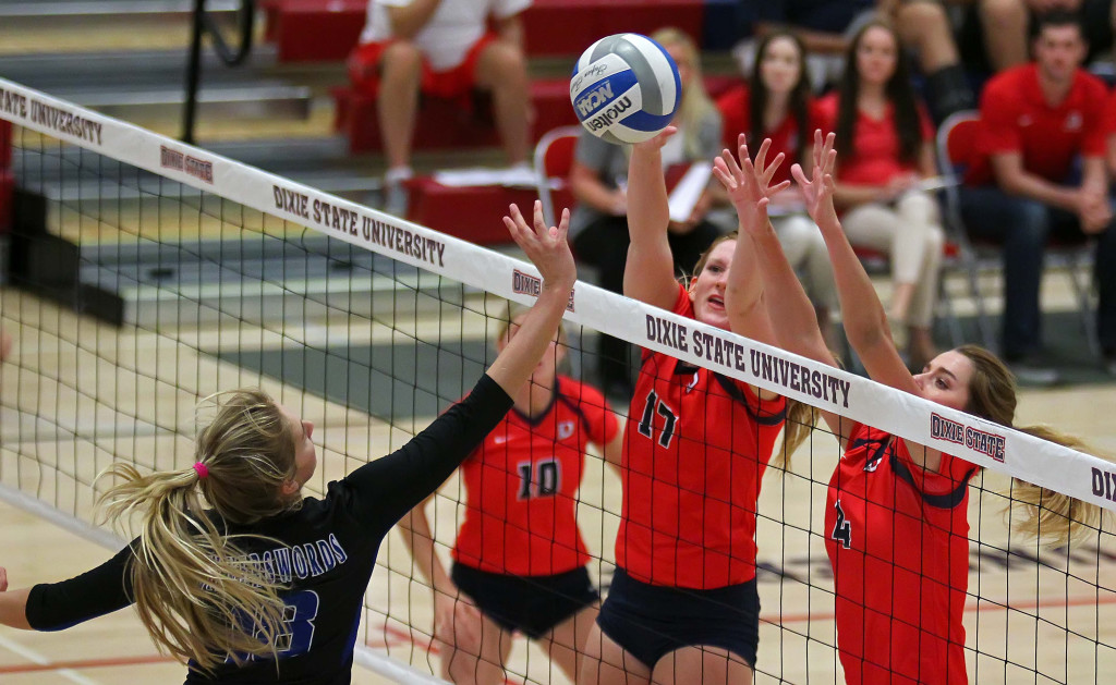 Makenzi Bird-Murphey (17) and Taylor Duryea (4) on the block for Dixie State, Dixie State University vs. Chaminade University, Volleyball, St. George, Utah, Oct. 7, 2015, | Photo by Robert Hoppie, ASPpix.com, St. George News