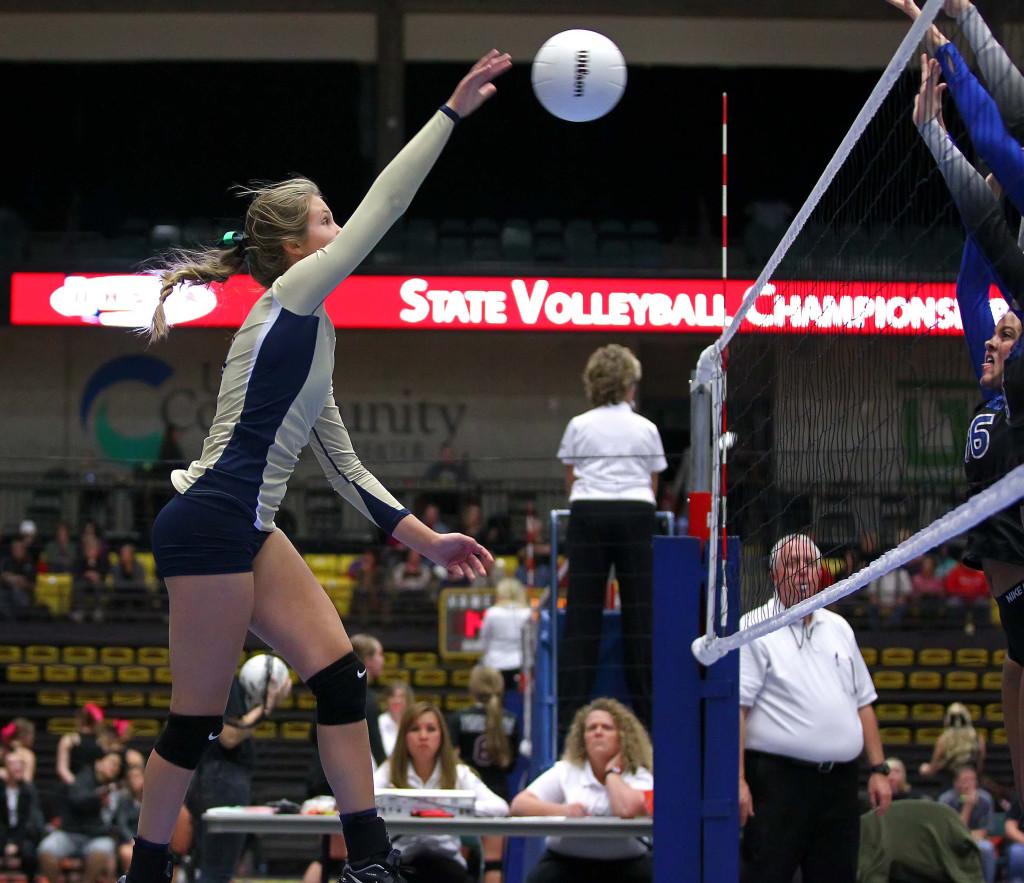 Snow Canyon's  Samantha Johnston (11), 3A State Volleyball Tournament, Orem, Utah, Oct. 28, 2015, | Photo by Robert Hoppie, ASPpix.com, St. George News