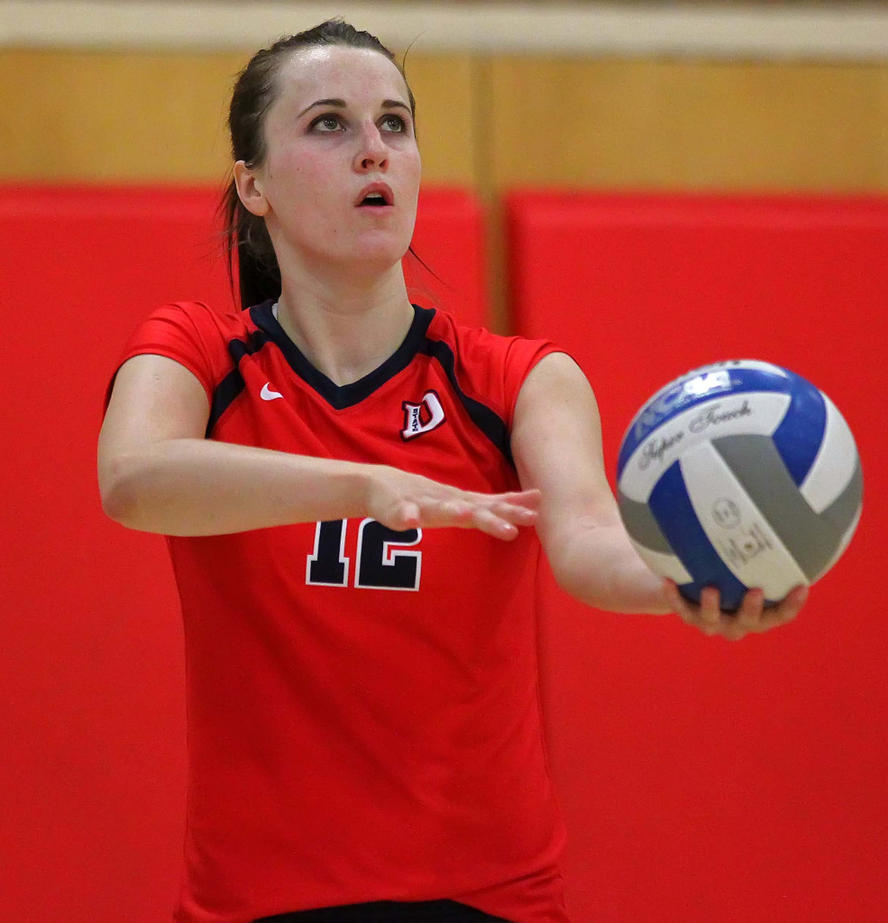 Delayne Daniel (12), Dixie State University vs. Chaminade University, Volleyball, St. George, Utah, Oct. 7, 2015, | Photo by Robert Hoppie, ASPpix.com, St. George News