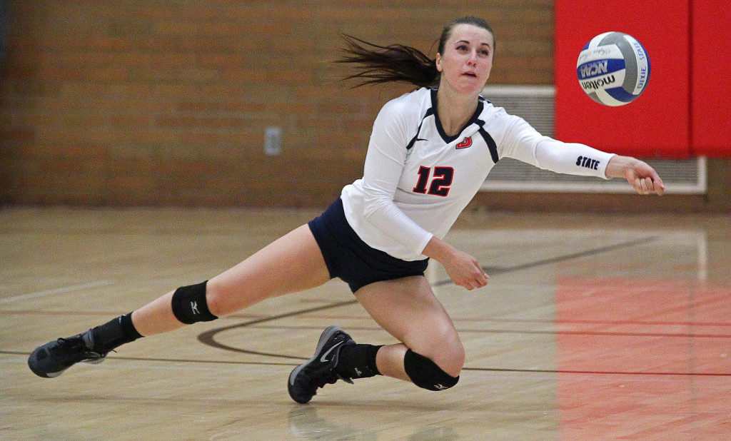 Delayne Daniel, Dixie State University Volleyball, St. George, Utah, Sept. 2, 2015, | Photo by Robert Hoppie, ASPpix.com, St. George News