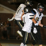 Kobe Sattiewhite scores on an interception for the Thunder, Snow Canyon vs. Desert Hills, Football, St. George, Utah, Oct. 8, 2015, | Photo by Robert Hoppie, ASPpix.com, St. George News