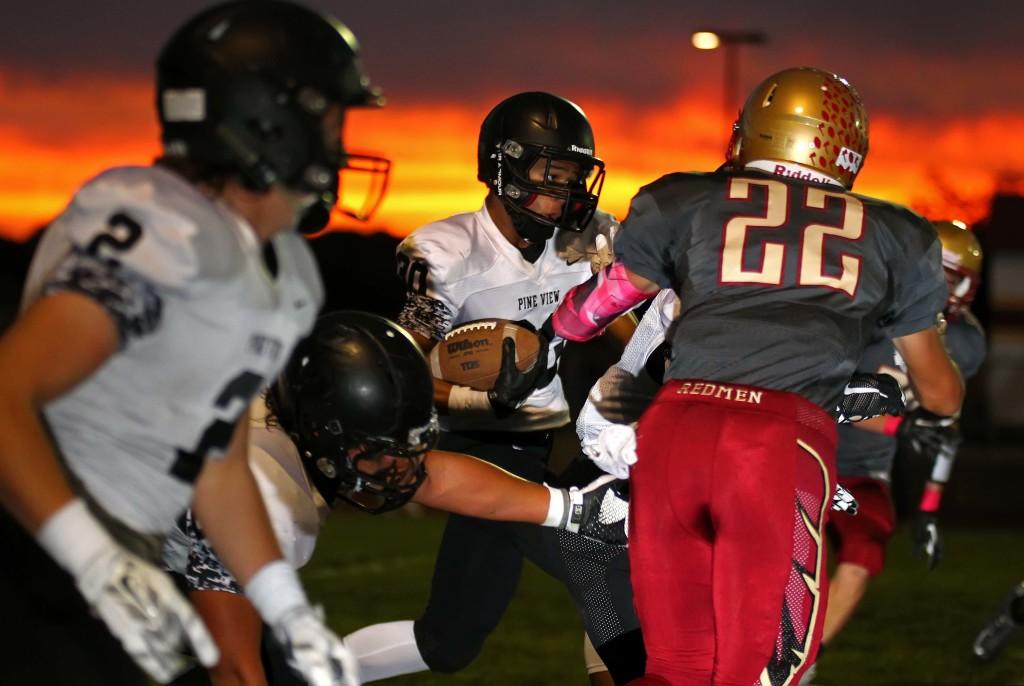 Michael Moten (30) carries for Pine View, Cedar vs. Pine View, Football, Cedar City, Utah, Oct. 9, 2015, | Photo by Robert Hoppie, ASPpix.com, St. George News