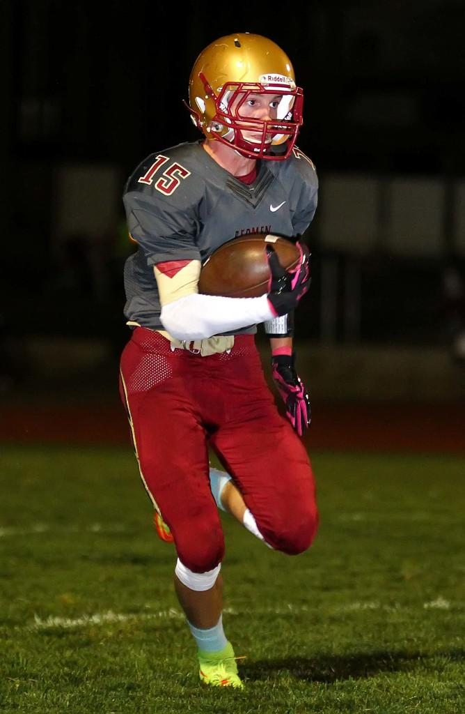 Bodrey Allred (15) returns a punt for Cedar, Cedar vs. Pine View, Football, Cedar City, Utah, Oct. 9, 2015, | Photo by Robert Hoppie, ASPpix.com, St. George News