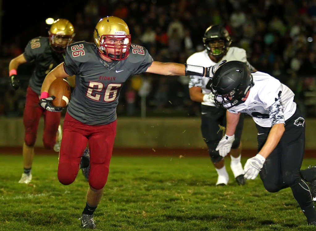 Travis Tait (26) will take over at running back for the Redmen. File photo from Cedar vs. Pine View, Football, Cedar City, Utah, Oct. 9, 2015, | Photo by Robert Hoppie, ASPpix.com, St. George News