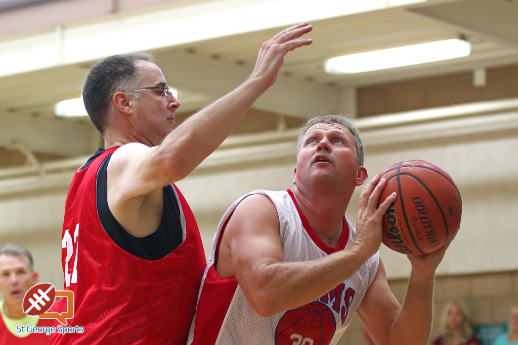 Rhett Parsons (30) battles against Darren Cole (red), Huntsman Senior Games, Mens 3 on 3 Basketball, St. George, Utah, Oct. 10, 2015, | Photo by Robert Hoppie, ASPpix.com, St. George News