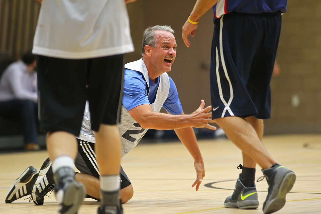 Jay Wooten looks for a helping hand, Huntsman Senior Games, Mens 3 on 3 Basketball, St. George, Utah, Oct. 10, 2015,   Photo by Robert Hoppie, ASPpix.com, St. George News