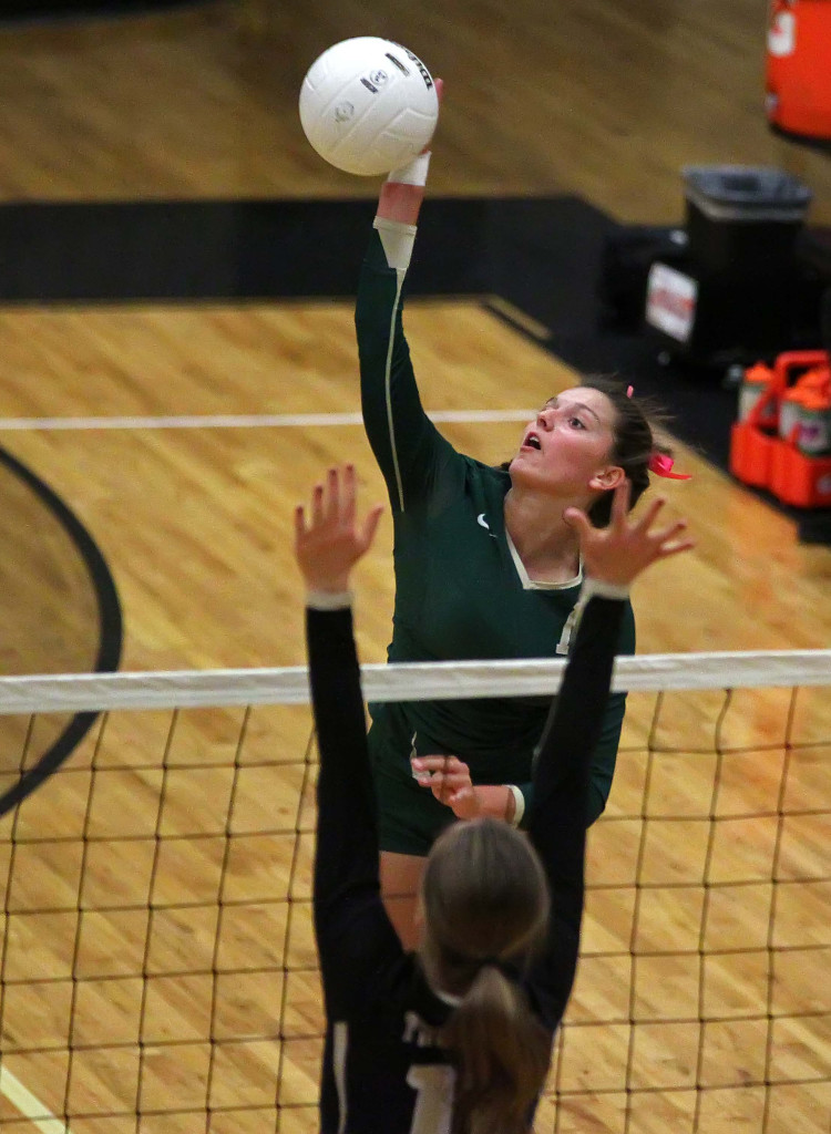 "Alexsa ""Crash"" Parker hits for Snow Canyon, Desert Hills vs. Snow Canyon, Volleyball, St. George, Utah, Oct. 13, 2015, 