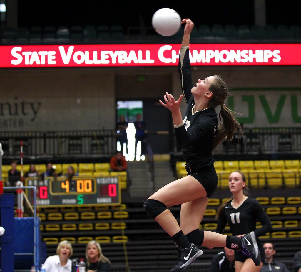 Desert Hills' Jessica Harris (13), 3A State Volleyball Tournament, Orem, Utah, Oct. 29, 2015, | Photo by Robert Hoppie, ASPpix.com, St. George News