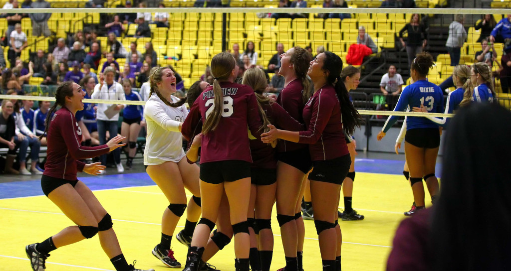 Pine View celebrates their 5 set epic victory over Dixie to win 5th place, 3A State Volleyball Tournament, Orem, Utah, Oct. 29, 2015, | Photo by Robert Hoppie, ASPpix.com, St. George News