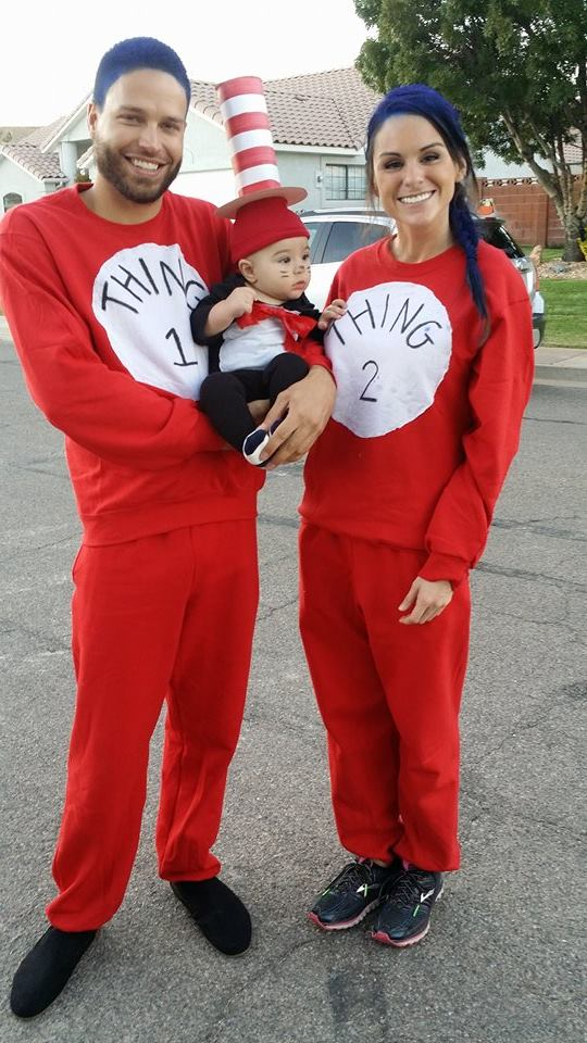 Andrew, Grant and Victoria Barnard dress as Thing 1, the Cat in the Hat and Thing 2, St. George, Utah, Oct. 31, 2015 | Photo by Joyce Kuzmanic, St. George News