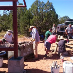 SITLA staff and Friends of Cedar Mesa volunteers work to protect the spectacular Cave Towers, Sept. 19, 2015 | Photo courtesy of SITLA, St. George News