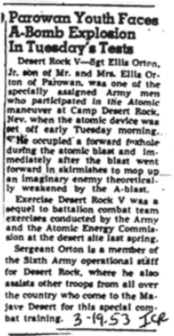 "Newspaper clipping annotated March 19, 1953 | Image courtesy of historian Sarah Fox, author of ""Downwind: A People's History of the Nuclear West""; St. George News"