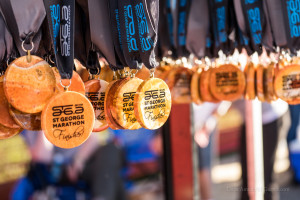 "The St. George Marathon ""Finisher"" medals, St. George, Utah, Oct. 3, 2015 