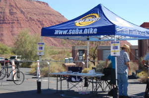 Southern Utah Bicycle Alliance bike valet offers guests free and secure bike parking at the Art in Kayenta Festival, Ivins, Utah, Oct. 9, 2015   Photo by Hollie Reina, St. George News